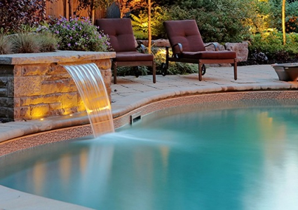 Sheer Descent Water Feature Cantilevered Brick Coping