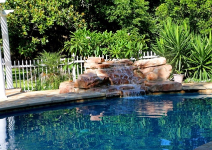 Water Feature with Stream Section Cantelevered Brick Coping