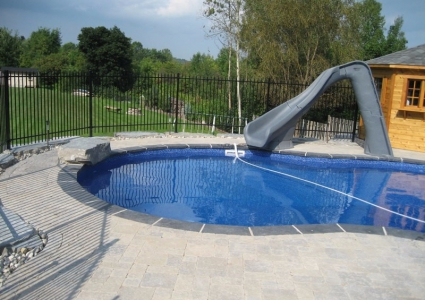Grey Granit Turbo Twister Slide with Jump Rock and Cantilevered Brick Coping